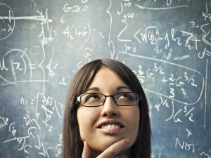 Woman Thinking and Equations